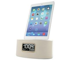 iHome iDL46 Lightning Dock Clock Radio and USB Charge/Play for iPad/iPod and iPhone 5/5S and 6/6Plus iPad Air /iPad Mini (White)  iHome iDL46 Lightning Dock Clock Radio and USB Charge/Play for iPad/iPod and iPhone 5/5S and 6/6Plus iPad Air /iPad Mini (White) The iDL46 is a stereo dual alarm clock radio for iPad, iPhone and iPod that lets you charge your iPad, iPhone or iPod and lets you wake and sleep to either one, to a custom playlist, or to FM radio. Charge and play via flexible L..