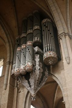 Interesting organ casework in the Cathedral of St. Peter, Trier, Germany.  Date unknown.  It reminds me of a player piano.