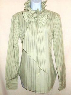 996b436bb66 Ralph Lauren Ruffle Shirt Bow NEW 10 12 Womens Striped Green Black White  NWT  RalphLauren  Ruffles  PussyBow