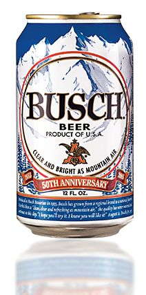 2005 - The Golden Celebration: Fifty years after its birth, Busch Beer celebrates with limited edition throwback cans and bottles.