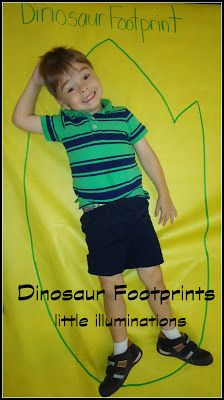 Connect size ratio of dinosaurs to humans by drawing and measuring dino footprints.  Compare length, width, and area!