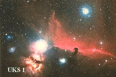 The black indentation to the red emission nebula seen just to the right of center of the above photograph is one of the most famous features in any nebulae on the sky. Because of its shape, it is known as the Horsehead Nebula. The bright star near the center is located in the belt of the familiar constellation of Orion. The horse head feature is dark because it is really a dense dust cloud which lies in front of the bright nebula and blocks the light.