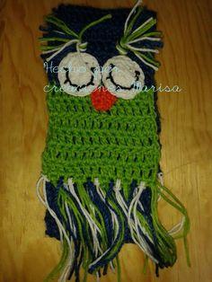 bufanda búho verde azul tejido crochet