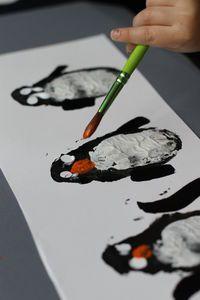 Potato Print Penguins