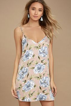 3822ceb6752f Lulus Exclusive! Stun your sweetie in the What a Dahlia Pink Floral Print  Slip Dress