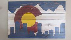 Colorado Flag by Colorado Joe's Denver Skyline by ColoradoJoes, $90.00