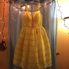 ☂Chichi London yellow lace midi dress Brand new with tags Chichi London midi lace dress! Beautiful flare dress, bright yellow, lands at knee size uk 10, USA 8. Very accurate fit. Bought from Asos ASOS Dresses Prom