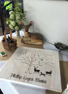 Thumbprint sign in canvas for deer themed baby boy shower.