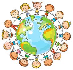 Buy Children round the Globe by katya_dav on GraphicRiver. Happy cartoon children round the Globe as a symbol of peace or global communication Art Drawings For Kids, Drawing For Kids, Art For Kids, Happy Cartoon, Cute Cartoon, Kids Background, School Murals, Child Day, Happy Kids