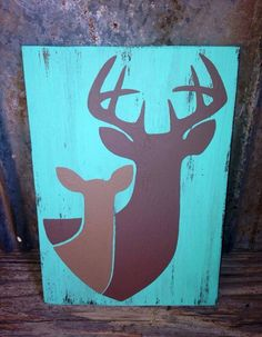"Hand crafted wooden sign - Buck and doe silhouettes - Approximately 8.5""x12"" on Etsy, $15.00"