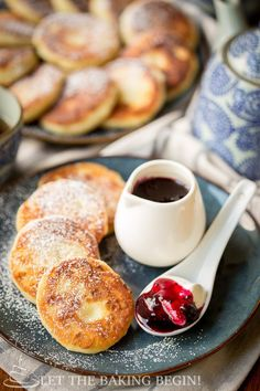 Ricotta Pancakes - Crispy on the outside & creamy on the inside, paired with some sour cream and jam.