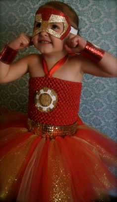 Made to order. Iron Man inspired tutu dress. Great for Birthday parties, photo shoots, Halloween or even dress up.