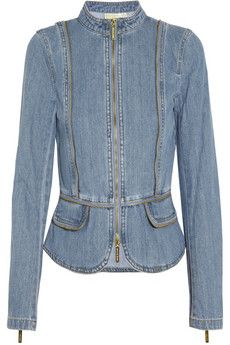 $92.50 at 50% off. I like the look of this. MICHAEL Michael Kors Zip-detailed denim jacket | THE OUTNET