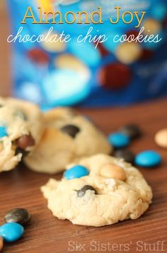 These Almond Joy Chocolate Chip Cookies are soft, chewy and filled with all kinds of yummy flavor! | SixSistersStuff.com