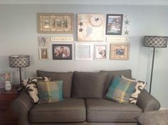 Family room wall collage. Beach cottage.