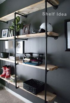 Interior Fun: Update: Manly and Inspired Office Office DIY Decor, Office Decor, Office Ideas Original article and pictures take . Regal Industrial, Industrial Style, Industrial Shelves, Industrial Lighting, Industrial Office, Industrial Pipe, Industrial Design, Industrial Windows, Industrial Restaurant