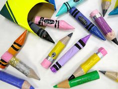 4th grade giant crayons and colored pencils made with paper towel tubes...video lesson here