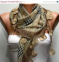 ON SALE Plaid Scarf Cotton Scarf Cowl with Lace by fatwoman, $15.30