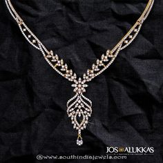 Beautiful Diamond Necklace from Josalukkas ~ South India Jewels Diamond Tennis Necklace, Diamond Necklaces, Diamond Jewellery, Jewelery, Jewelry Necklaces, Initial Pendant Necklace, Swarovski Jewelry, Necklace Designs, Jewellery Designs