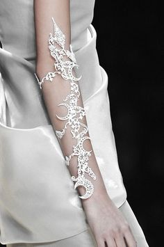 Lasercut Cuff with intricate pattern - modern statement jewellery; arm adornment // Karl Lagerfeld