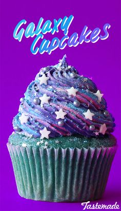 Vanilla base with a swirl of buttercream frosting, glitter sprinkles and a star sprinkle centre.