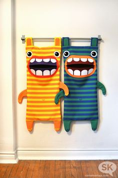 Hungry Monster Laundry Bags. Fabric by Spoonflower.