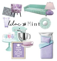 """""""lilac and mint"""" by suzannekobb ❤ liked on Polyvore featuring interior, interiors, interior design, home, home decor, interior decorating, nuLOOM, Mint Velvet, LSA International and KitchenAid"""