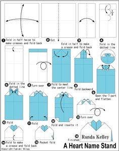 Origami Heart Name Stand Folding Instructions Instruction