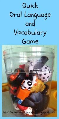 oral language activity for building vocabulary with toddlers and preschoolers. I don't know that bentley needs any help but this will give us an activity to do!