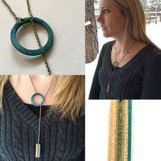 Hoop and bar necklace made from recycled skateboards.   www.carvd.xyz