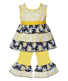 Look at this Black & Yellow Sunshine Tunic & Pants - Infant, Toddler & Girls on #zulily today!