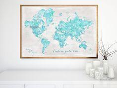 "Custom quote world map print - Aquamarine watercolor world map with cities, rustic background. ""Harriet"" #CustomDesignedPrint #PrintedProduct #PremadeColorMapPrint"