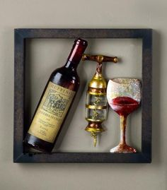 Framed Wine Wall Art - Great way to recycle your used wine bottles