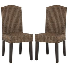 Safavieh Rural Woven Dining Odette Brown Multi Wicker Side Chairs (Set of 2) (SEA8015C-SET2) (Rattan)