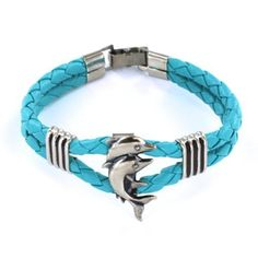 Women's Threaded Turquoise Leather Bracelet with Dolphin Centerpiece - 7'' Length Bracelets - Leather. $17.95