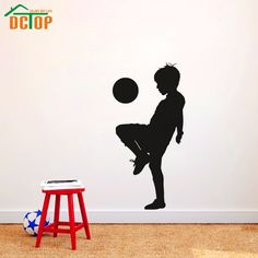 Boy Playing Soccer Creative Wall Stickers Football Kids Wallstickers For Children Room Decoration | #FootballJerseys #Kids