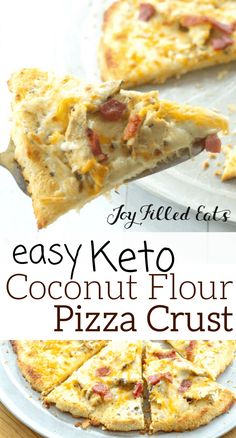 Coconut Flour Pizza Crust - Low Carb Keto Gluten-Free Nut-Free THM S Grain-Free - Coconut Flour Pizza Crust is unbelievably delicious and the perfect base for all your favorite topp - Low Carb Chicken Recipes, Healthy Low Carb Recipes, Low Carb Keto, Pizza Recipes, Gluten Free Low Carb Pizza Crust Recipe, Recipes With Coconut Flour Low Carb, Low Carb Pizza Base, Easy Recipes, Dinner Recipes