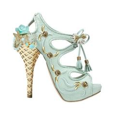 """If Marie Antoinette were here today she'd wear these ice cream cone heels: """"Serenity"""" shoe by .Silver.Doe."""