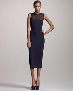 The Row Sheer-Yoke Bias Dress