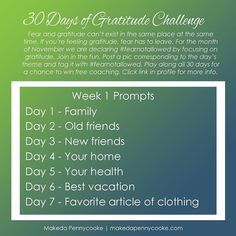 {Gratitude Challenge Week 1}  Our month long #gratitudechallenge kicks off tomorrow! I can't wait to get started. Check out this week's prompts and start planning what you'll share. Daily prompts will be posted here but you can have them delivered right to your inbox so you don't miss any. Click link in profile to sign-up.  Remember that everyone who participates all 30 days will be entered for a chance to win one of two hour-long coaching sessions with me. Pics will need to be tagged with…