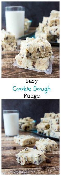 Easy Cookie Dough Fudge - Sugar Spun Run