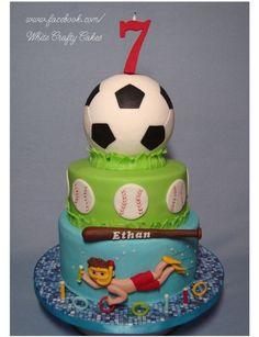 Soccer, Baseball, and Swimming Cake
