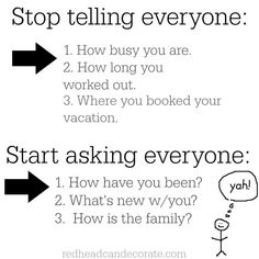 Stop Telling Everyone/Start Asking Everyone Graphic | Redheadcandecorate.com