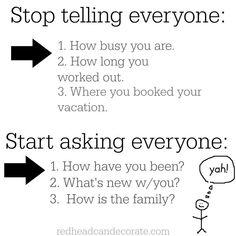 Stop Telling Everyone/Start Asking Everyone Graphic | Redheadcandecorate.com
