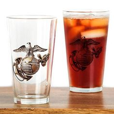 Marine Corps Emblem Drinking Glass - Pint Glass, 16 oz. Drinking Glass   for that special veteran who served in the USMC. Great birthday or Christmas present, heck would make a fantastic Groomsman gift at a Marine themed wedding.