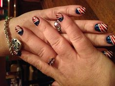 My July 4th Nails - 2013  Hand painted - no taping - pretty look, easy way. :)