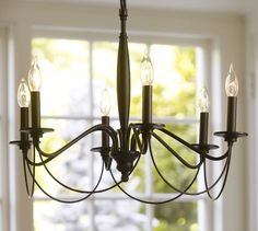 Graham Chandelier, Iron finish At Pottery Barn - Lighting - Chandeliers Dining Light Fixtures, Farmhouse Light Fixtures, Farmhouse Chandelier, Kitchen Chandelier, Chandelier In Living Room, Farmhouse Lighting, Dining Room Lighting, My Living Room, Home Lighting