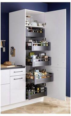 Kitchen Pantry Design, Modern Kitchen Design, Interior Design Kitchen, Home Design, Kitchen Organization, Organization Ideas, Kitchen Cupboard, Storage Ideas, Kitchen Storage