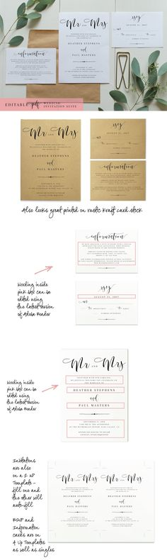 Wedding Vector Invitation Suite Templates AI Invitation Templates