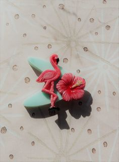 50s Style Tropical Flamingo Brooch,Rockabilly Brooch,Novelty Lucite Style Boomerang Brooch,Tropical Jewelry,Kitsch Accessories,Cocktail Pin by RosieMays on Etsy